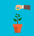 man hand holds money under the tree investment vector image