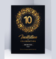 10 years anniversary invitation card template vector image vector image