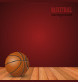 basketball background with ball on the floor and vector image
