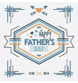 Blue Happy Fathers day line decoration message vector image vector image