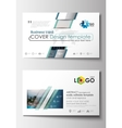 Business card templates Flat design blue color vector image