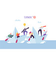 business people floating on a paper ship flat vector image vector image