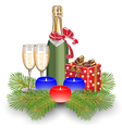 champagne gift box christmas vector image vector image