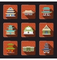 Chinese house icons tile vector image