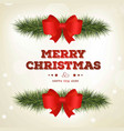 christmas card with red bow and green leafs vector image vector image