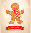 christmas vintage postcard with gingerbread man vector image vector image