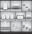Collection of spotlights and shelves for product vector image vector image