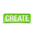 create green 3d realistic square isolated button vector image vector image