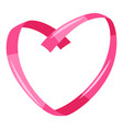 decorative pink ribbon in heart shape vector image