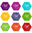 dinosaur skeleton icons set 9 vector image vector image