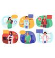 doctors with speech bubbles medical stuff vector image vector image