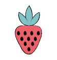 doodle delicious strawberry organic fruit food vector image vector image