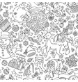 doodles merry christmas seamless pattern vector image vector image