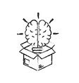 figure box with creative bulb brain inside vector image vector image