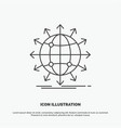 globe network arrow news worldwide icon line gray vector image