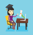 graduate getting diploma from the computer vector image vector image