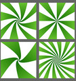Green spiral ray and starburst background set vector image vector image