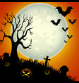 halloween night background with scary pumpkins vector image