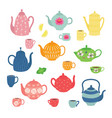 hand drawn teapot and cup collection colorful tea vector image vector image