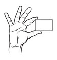 hand holding blank card vector image