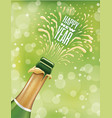 happy new year background - champagne bottle vector image