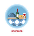 hot food and wine flat color vector image vector image