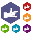 I Love You hand sign icons set vector image