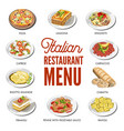 italian cuisine food traditional dishes vector image vector image