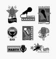 karaoke club disco party labels templates of vector image vector image