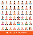 large set of avatars of men and women in a flat vector image vector image