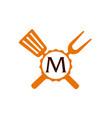 logo restaurant letter m vector image