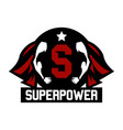 logo superhero cloak superman muscular arms vector image
