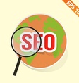 Magnifier Enlarges earth for search concept vector image