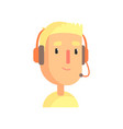 male call center worker online customer support vector image