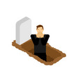 man is standing in grave guy in grave pit vector image vector image
