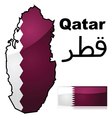 map and flag qatar vector image vector image