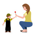 mother giving her son a rose vector image