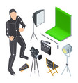 movie production equipment isometric vector image vector image