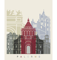Palermo skyline poster vector image vector image