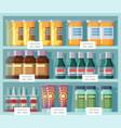 pharmaceutical shelves medicine rack front view vector image
