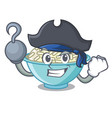 pirate rice bowl character cartoon vector image