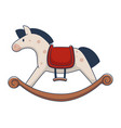 plush pony or horse with wooden base for rocking vector image vector image