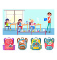 pupils at school lesson teacher chemistry flasks vector image vector image