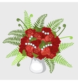 Red roses in vase with plants and pearls vector image vector image