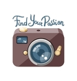 Retro photo camera with lettering vector image vector image