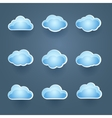 Set of blue cloud icons vector image