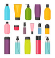 set of flat colorful cosmetic bottles vector image