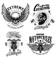 set of racer emblem templates with motorcycle vector image vector image