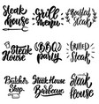 set steak house grill menu bbq party lettering vector image vector image