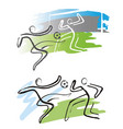 soccer players in action expressive drawing vector image